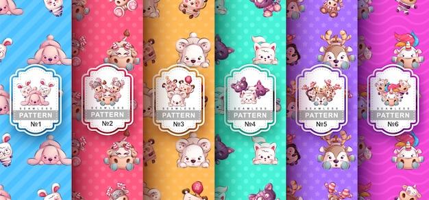 Set cute animals - seamless pattern