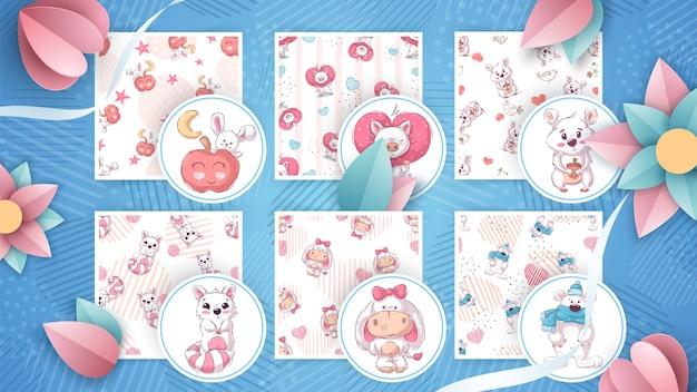 귀여운 동물-원활한 패턴 설정