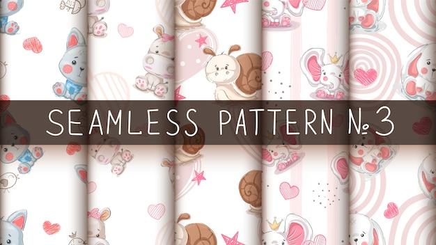 귀여운 동물-완벽 한 패턴 설정