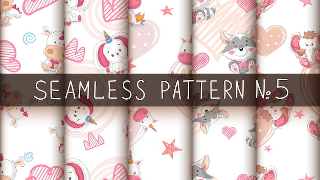 Set cute animals - seamless pattern