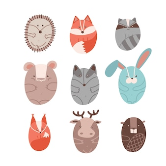 Set of cute animals stylized in round shape children s wild animals mammals forest characters isolat...