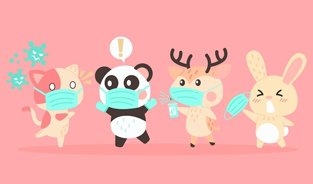 Set of cute animals wearing medical masks