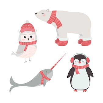 Set of cute animals in winter hats and scarves penguin snowy owl polar bear narwhal christmas