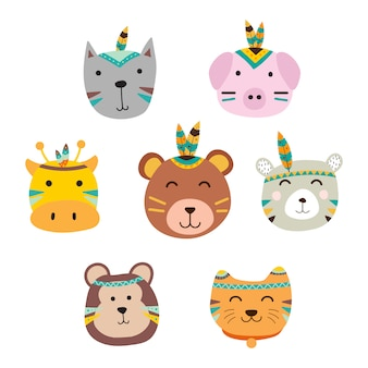 Set of cute animals with boho style