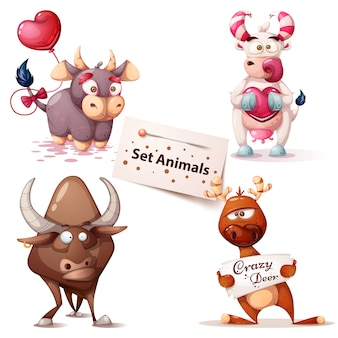 Set cute animals