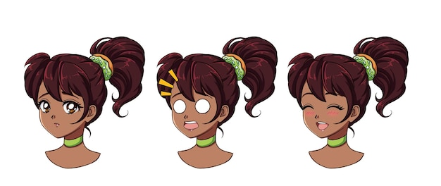 A set of cute anime girl with different expressions