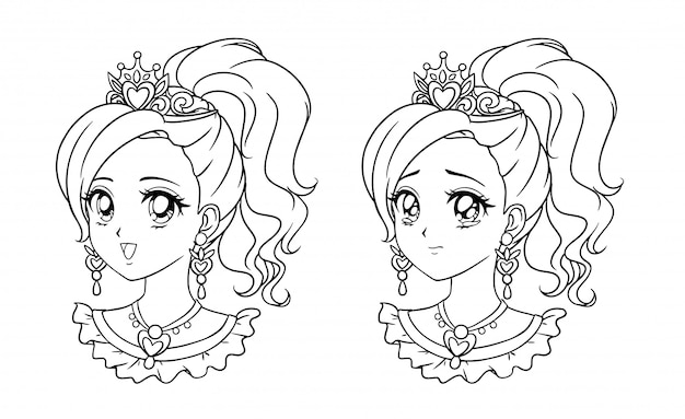 Set of cute anime princess portrait, retro manga style hand drawn  illustration. isolated on white background.