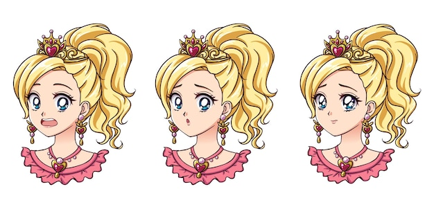 A set of cute anime princess with different expressions blonde hair big blue eyes