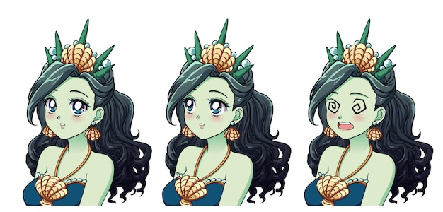 A set of cute anime sea princess with different expressions.