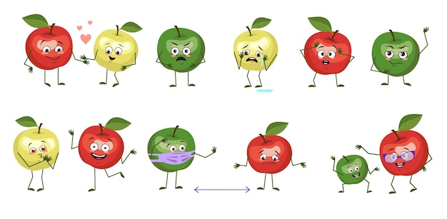Set of cute apple characters with emotions, faces, arms and legs. funny or sad characters, fruits play, fall in love, keep their distance, with a smile or tears. vector flat illustration