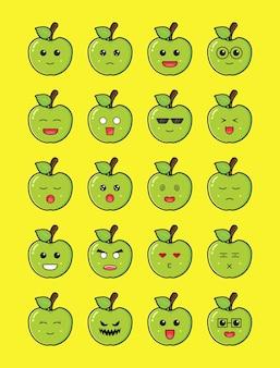 Set of cute apple emoticon cartoon icon illustration. design isolated flat cartoon style