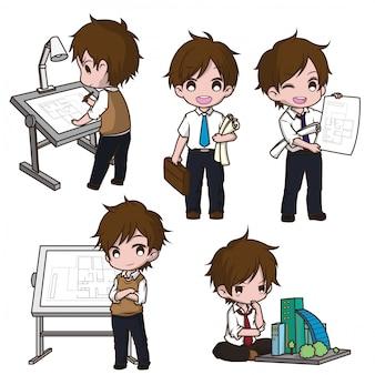 Set cute architect cartoon character.