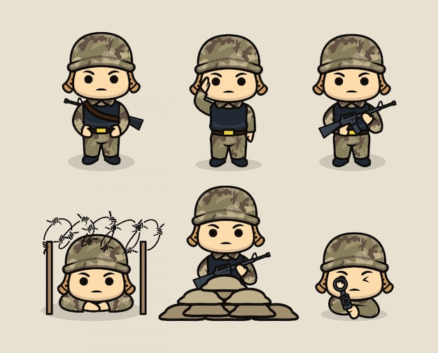 Set of cute army soldier mascot design illustration template
