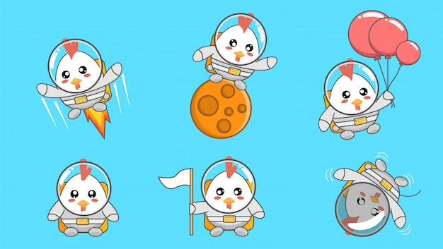 Set of cute astronaut chicken cartoon
