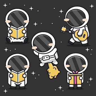 Set of cute astronaut in space cartoon icon illustration