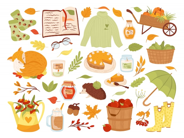 Set of cute autumn animal characters, plants and food  illustration. fall season. fox, pumpkins, pie. collection of autumnal scrapbook elements for party, harvest festival or thanksgiving day.