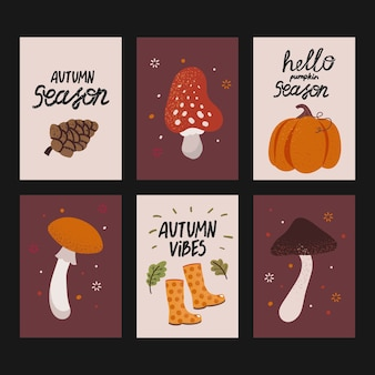 Set of cute autumn cards with hand written text. beautiful posters with pumpkin, mushrooms and other fall elements
