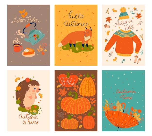 Set of cute autumn cards.