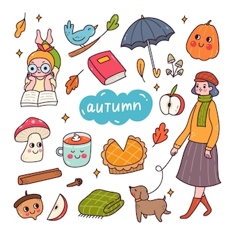 Set of cute autumn doodle isolated on white