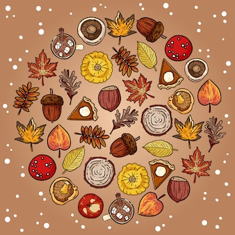 Set of cute autumn elements doodles in a circle