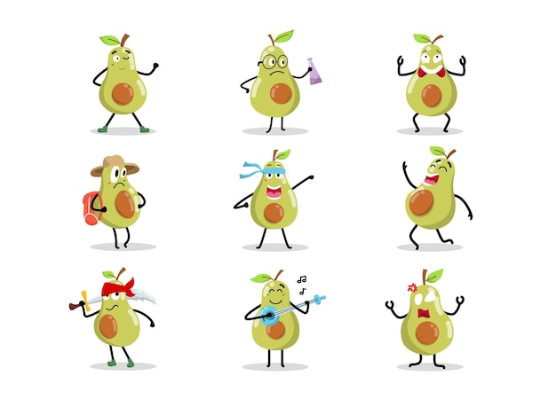 Set of cute avocado character in different poses