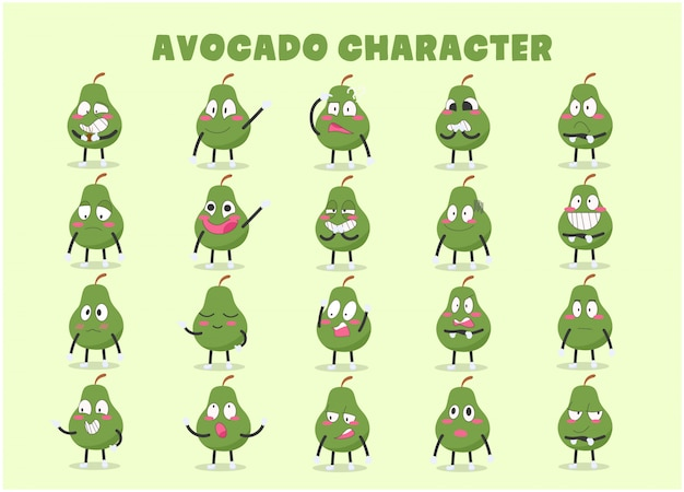Set of cute avocado character in various emotions