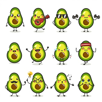 Set of cute avocado fruit character in different action emotion