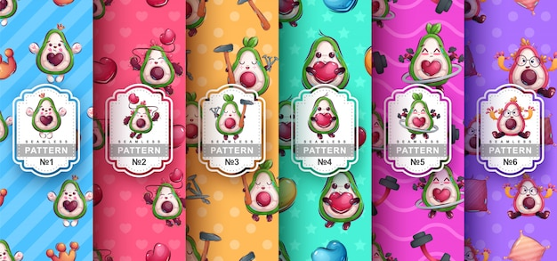Set cute avocado seamless patterns