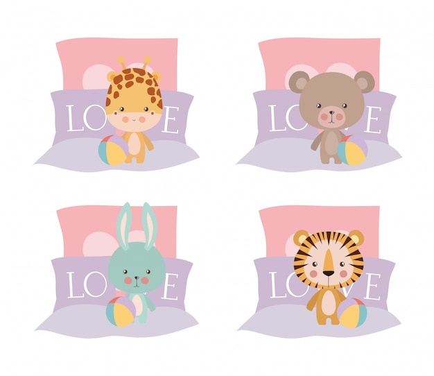 Set of cute babies animals in bed design, child newborn childhood kid innocence and little theme vector illustration