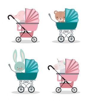 Set of cute babies animals inside strollers design, child newborn childhood kid innocence and little theme vector illustration