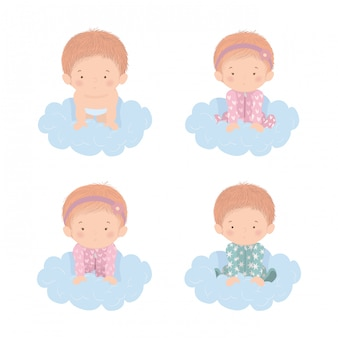Set of cute babies over clouds design, child newborn childhood kid innocence and little theme vector illustration