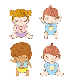 Set cute babies with hairstyle and diaper