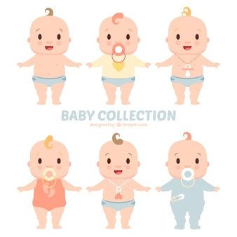 Set of cute babies with pacifiers