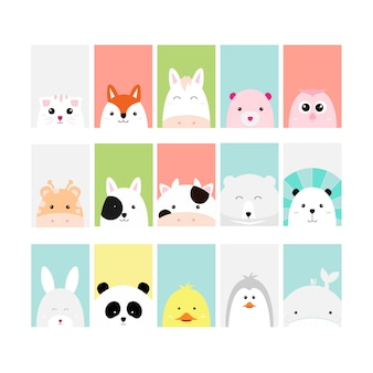 Set cute baby animal card cartoon hand drawn style
