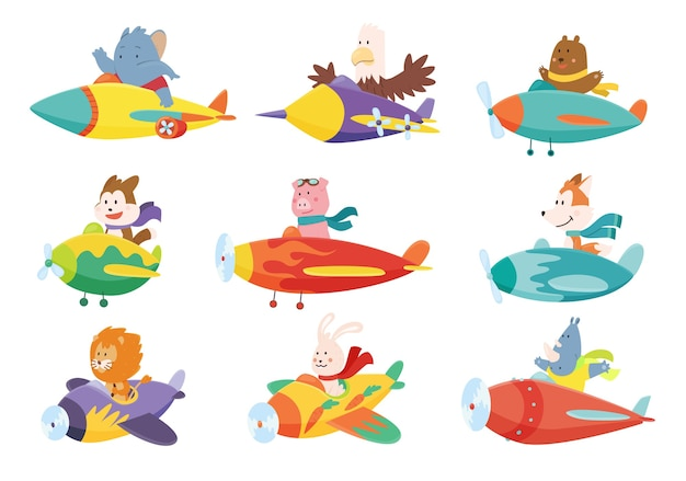 Set of cute baby animals elephant eagle bear dog flying on airplanes.