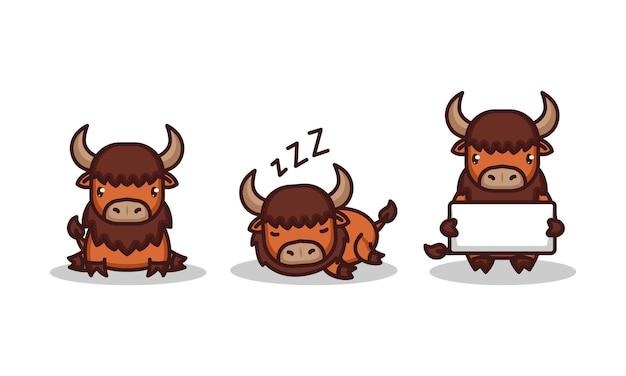 Set of cute baby bison chibi