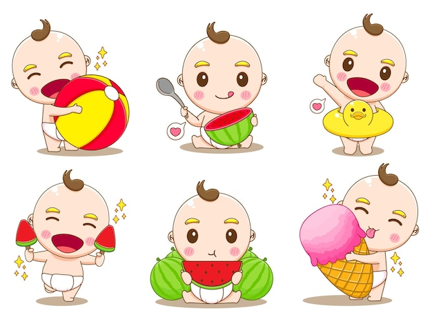 Set cute baby boy with summer activities