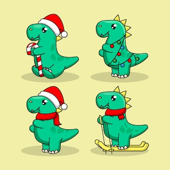Set of cute baby dino with christmas costume