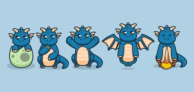 Set of cute baby dragons