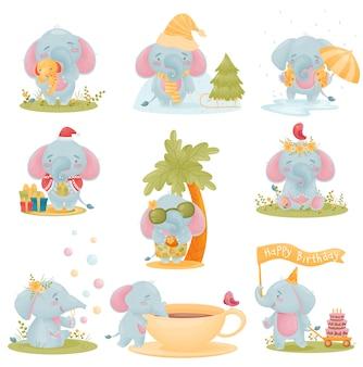 Set of cute baby elephants in cartoon style.