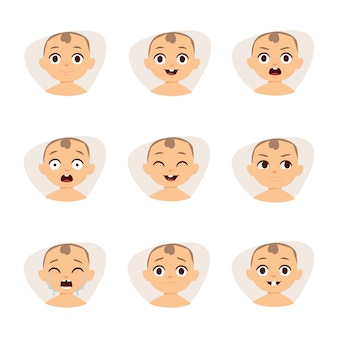 Set of cute baby emoticons very simple but expressive cartoon  faces .