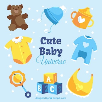Set of cute baby items