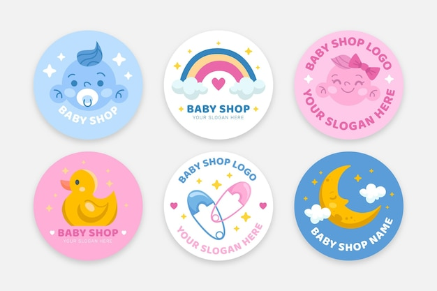 Set of cute baby logos