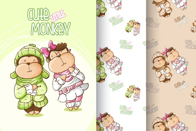 Set cute baby monkey pattern