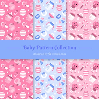 Set of cute baby patterns with elements