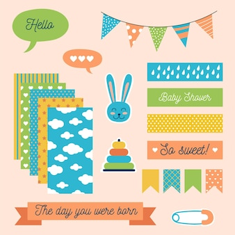 Set of cute baby shower scrapbook elements