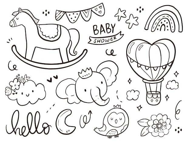 Set of cute baby shower with unicorn doodle cartoon drawing