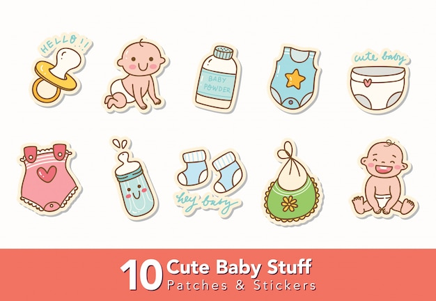 Set of cute baby stuff stickers