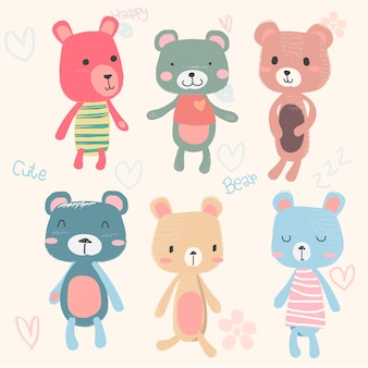 Set of cute baby teddy bears cartoon character hand drawing  in pastel colour