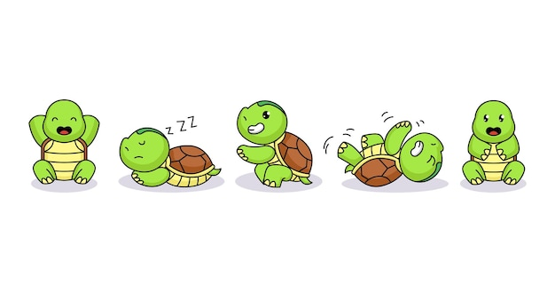 Set of cute baby turtle funny and happy